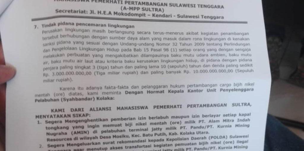 PT Amin Kolut Diduga Jual Tanah Air (Ore Nikel) Secara Ilegal