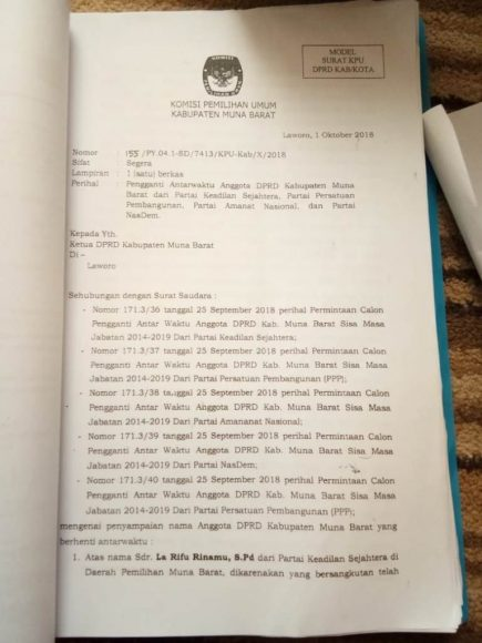 PAW Sejumlah Anggota DPRD Mubar Menuai Kritik