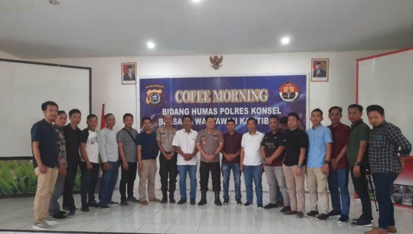 Jelang Pilkades Serentak, Polres Konsel Gelar Coffee Morning Bersama Insan Pers