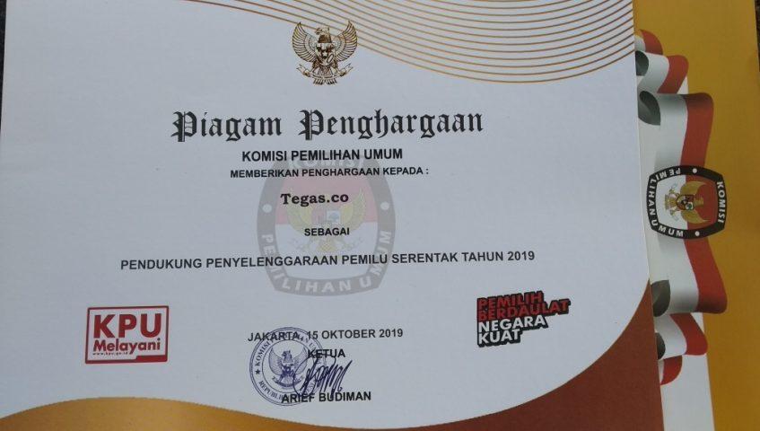 Tegas.co Appreciated by KPU as the Media Partner to Guard 2019 Elections Tegas.co Diapresiasi KPU Sebagai Media Partner Kawal Pemilu 2019