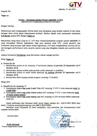 Surat kerjasama GTV