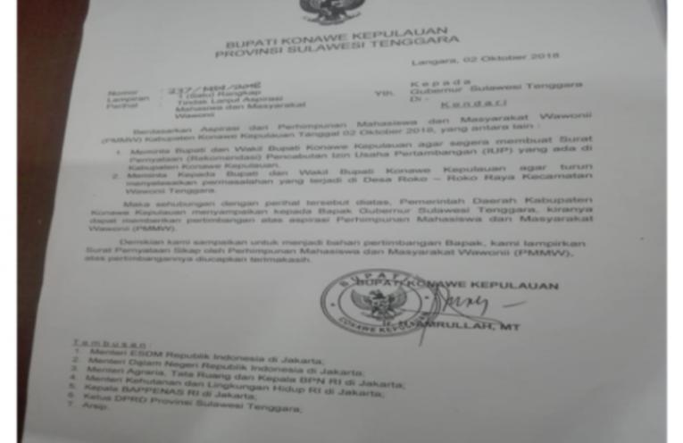 Surat Bupati Konawe Kepulauan Picu Demo Tambang Tandingan