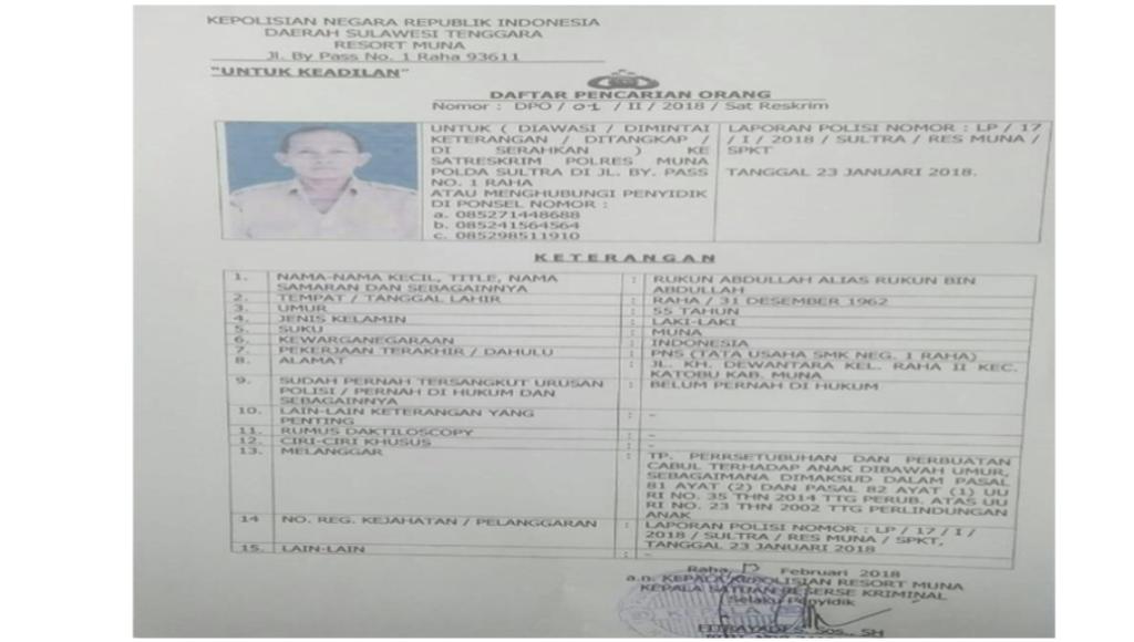 Setubuhi Siswi Sendiri, KTU SMK 1 Raha jadi DPO