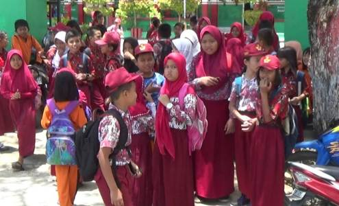Siswa-siswi SD Negeri 3 Lamokato di terpa isu penculikan anak. FOTO : LAN
