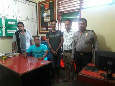 Pelaku Pencurian kendaraan bermotor Anwar Bin Nurdin (34) yang diringkuas aparat Polsek Peureulak Polres Aceh Timur. FOTO : ROBY SINAGA