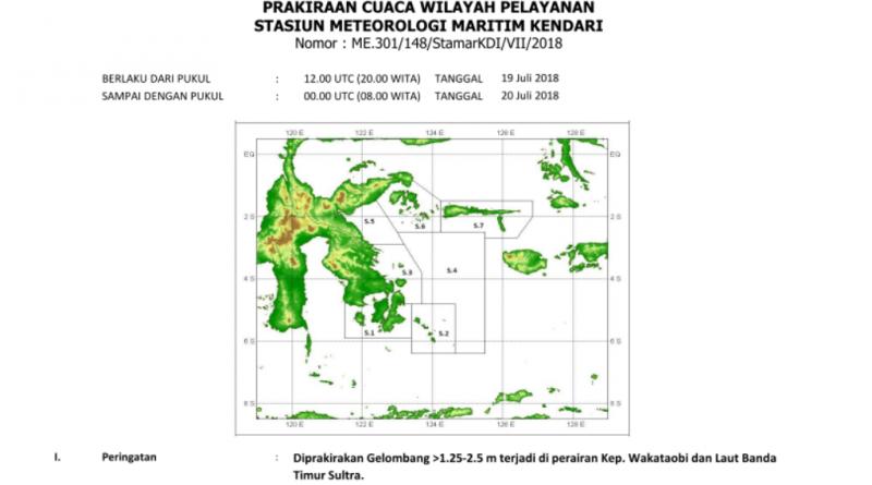 BMKG: Tinggi Gelombang Capai 2.5 Meter di Perairan Wakatobi Sultra