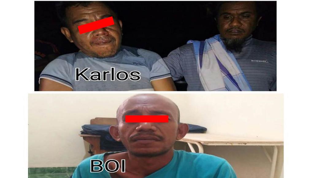 Kedua tersangka bernama Karlos dan Boi diamankan polisi dan BNNK Muna dilokasih yang berbeda.