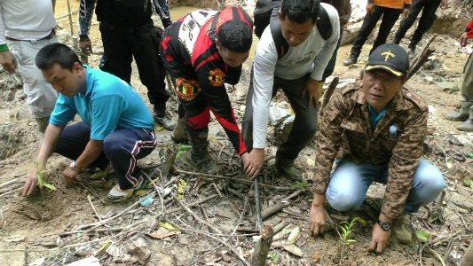 Bupati Kolaka H. Ahmad Safei saat menanam pohon di lokasi tambang emas di Hutan lindung Kelurahan Ulunggolaka. FOTO : ASDAR LANTORO