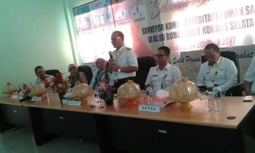 Bersama Tim KARS Kemenkes Dalam Acara Penyambutan Diaula Rapat RSUD Kab. Konsel FOTO : MAHIDIN