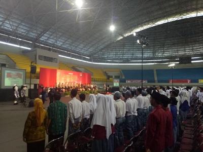 Memperingati momentum Hari Kebangkitan Nasional, Polisi Daerah Istimewa Yogyakarta menggelar Ikrar Anti Kekerasan, Anti Radikalisme. di Gor Amngrogo, Yogyakarta. FOTO : ASL