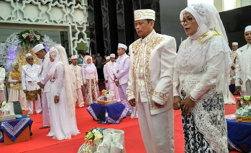 Nikah Bareng Ramadhan Berkah di Masjid Islamic Center Universitas Ahmad Dahlan (UAD), Bantul, Yogyakarta. FOTO : NADHIR