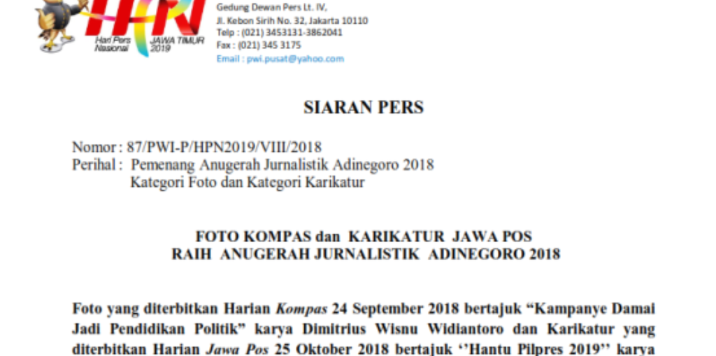 FOTO KOMPAS dan KARIKATUR JAWA POS RAIH ANUGERAH JURNALISTIK ADINEGORO 2018