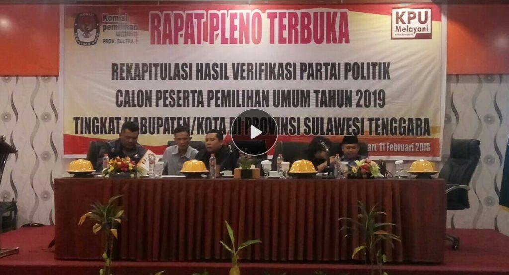 KPU Sultra Gelar Rapat Pleno Hasil Verifikasi Parpol