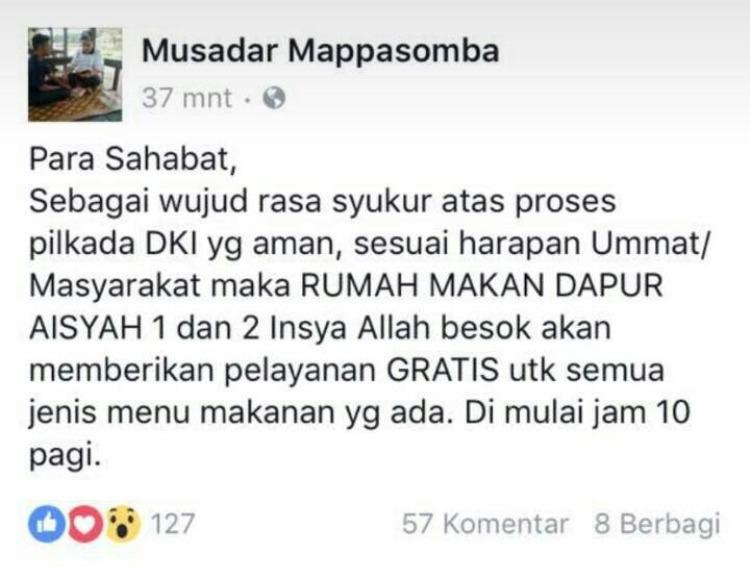 Pilgub Jakarta Berlangsung Aman, Wawali Kendari, Buka Layanan Gratis di Dapur Aisyah