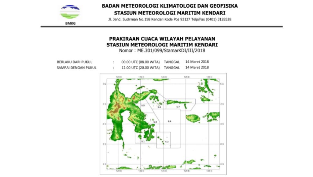 Ini Prakiraan Cuaca Untuk Besok di Sulawesi Tenggara