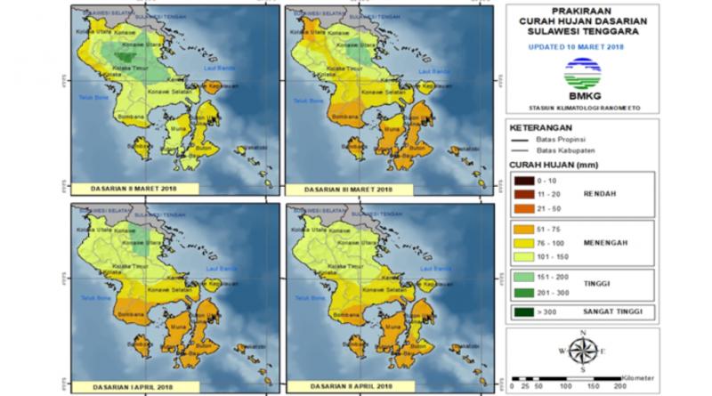 Analisis dan Prakiraan Curah Hujan Dasarian Sulawesi Tenggara